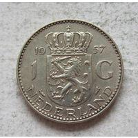 Нидерланды 1 гульден 1957 - серебро
