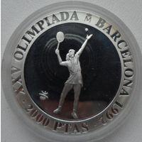 Испания 2000 песет 1991 года. Олимпиада 1992. Большой теннис. Тираж 38905 шт. Серебро 26,7 грамма 925 проба. Краузе KM# 888. Пруф. Состояние!