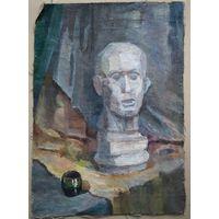 Неизвестный художник. Натюрморт с бюстом. 1980-е. Холст масло. 41х56 см.