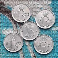 Бельгия 25 центов 70-е, АU. Корона.