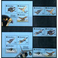 Самолеты и птицы Гибралтар 1999 год серия из 6 марок и 2-х блоков