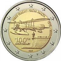 2 евро 2015 Мальта 100-летие первого авиаполёта с Мальты UNC из ролла