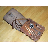 Кожаная офицерская полевая сумка планшетка 1947 г. с компасом и курвиметром.
