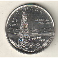 Канада 25 цент 2005 100 лет провинции Альберта
