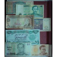 Набор Банкнот 10 тенге 1993 Казахстан,50 манатТуркменистан,20 бат Тайланд,25 динар 1990 Ирак. 6штук