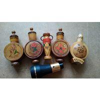 Флакончики деревянные из под болгарских духов, масел, времен ссср