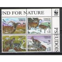 Таджикистан WWF Горные бараны 2005 год чистая полная серия из 4-х марок в квартблоке