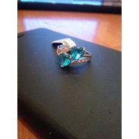 Симпатичное кольцо под серебро с нат.камнями, р.18