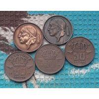Бельгия 50 центов 50-е, АU. Корона.