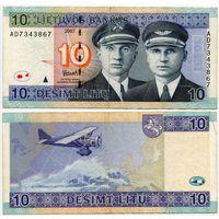 Литва. 10 лит (образца 2007 года, P68) [серия AD]