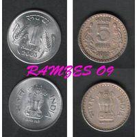 Индия. 5 рупий 2002, 1 рупия 2003