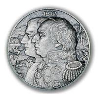 """Ниуэ 5 долларов 2012г. """"Война 1812г. Кутузов М.И."""". Монета в капсуле; деревянном подарочном футляре; номерной сертификат; коробка. СЕРЕБРО 62,27гр.(2 oz)."""