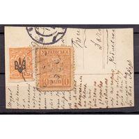 Украина ГВ Выпуск Центральной Рады МД 10 ш на вырезке 1918 г
