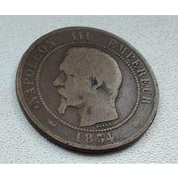 """Франция 10 сантимов, 1854 """"BB"""" - Страсбург  8-8-5"""