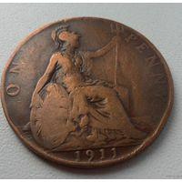 1 пенни 1911 г.в. Великобритания KM# 810 PENNY, из коллекции
