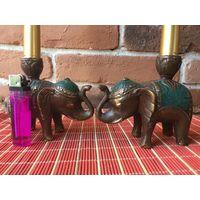 Подсвечник, канделябр из бронзы, статуэтка Слон.