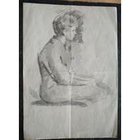 Крохалев Петр. Сидящая женщина. Рисунок. Карандаш. Бумага.21х29.5 см