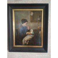 Старинная картина масло,доска.19 век неизвестный художник.