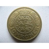 Дания 10 крон 1989 г.