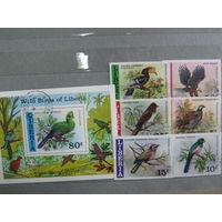 Марки - фауна, Либерия, птицы, блок и 6 марок