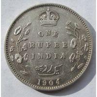 Индия, рупия, 1904, серебро