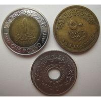 Египет 1 фунт 2010 г. + 50 пиастров 2005 г. + 25 пиастров 1993 г. Цена за все (u)