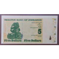 5 долларов 2009 года - Зимбабве - UNC