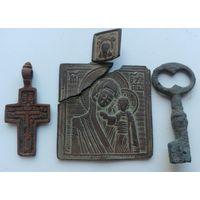 Ладонка, иконка старинная, нательная, Богоматерь + бонус