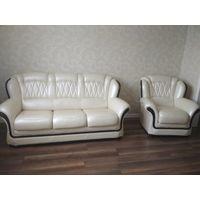 Кожаный диван + кресло. Пинскдрев. СУПЕР ЦЕНА!