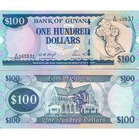 Гайана  100 долларов  2016 год   UNC