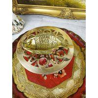 Пепельница рыбка бронза мелочница латунь штихель
