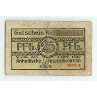 Германия, Нотгельд 25 пфеннигов 1920 год.