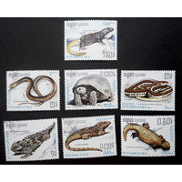 Кампучия 1987 г. Рептилии. Фауна, полная серия из 7 марок #0177-Ф1