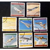 Швеция 1977 г. Самолеты. Авиация. ВВС. Реактивные истребители, полная серия из 8 марок #0141-Т1P29