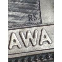 Старая металлическая плакета таблица медаль пластина Изображение королевского замка Варшава Warszawа Довоенная работа Клеймо