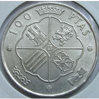 Испания 100 песет 1968 серебро в холдере