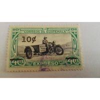 Гватемала, мотоцикл, история, почта, надпечатка, транспорт