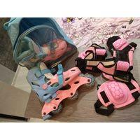 Роликовые коньки детские в комплекте защита