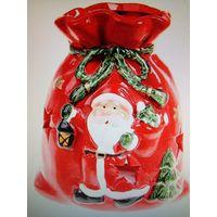 Подсвечник Красный керамический ,,Мешочек Деда Мороза,,(Куплю)