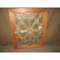 Витраж,дверка витражная,стекло фацетное(1,5 см),бронза,дуб.19 век.