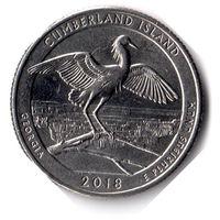 США. 1/4 доллара (1 квотер, 25 центов). 2018. Национальное побережье острова Кумберленд. D.