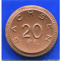 Германия , Саксония 20 пфеннигов 1921 , Мейсенский Фарфор