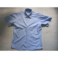 Мужская рубашка голубая L, по воротнику 41-42