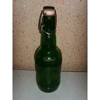 Пивная бутылка Grolsh . Винтаж . Зеленое стекло