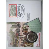 ГДР. 5 марок 1988. 150 лет первой железной дороге Германии. Конверт, марки  ПС-51