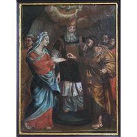 """18 век; икона; """"Обручение Девы Марии"""" XVIII век МОСКВА; х/м; 34/45,5 см;в киоте"""