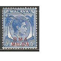 Малайя(Британская военная администрация). Король ГеоргVI. Пальмы. 1945г. Mi#9.