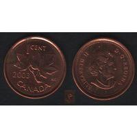 Канада _km490 1 цент 2003 год (тип-2.2.1) km490a новый портрет магнит (P) (f31)**