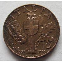 Италия 10 чентезимо 1937 Новый реверс Герб