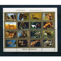 Аджман 1972г, животные, 16м. мал.лист